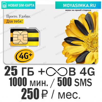 SIM-карта для звонков с Безлимитным интернетом Билайн Ключевой 250