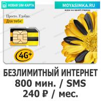 SIM-карта для звонков с Безлимитным интернетом Билайн 240